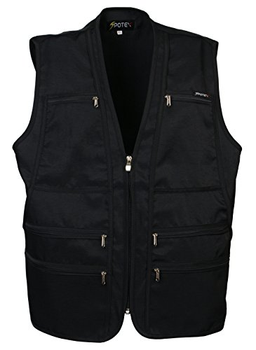 Men's 9 Pockets Work Utility Workwear Jacket Vest Military Photo Safari Travel Vest (2XL, Black)
