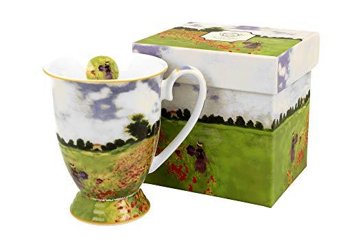 Duo Kaffeetasse Mohnblumenfeld Monet mit Fuß 300ml große Tasse XXL Teetasse Kaffee-Tasse Tee-Tasse Tasse für Tee und Kaffee Blumenmotiv Kaffeebecher Porzellan Kaffee-Becher Teebecher Mohnblumen