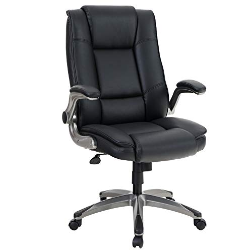 ALPHA HOME High Back Executive Chair Ergonomic Office Chair Managerial Computer Desk Chair Flip Up Armrest Big Tall Adjustable Height PU Leather Task Chair Rolling Swivel Chair-Capacity 400LBS
