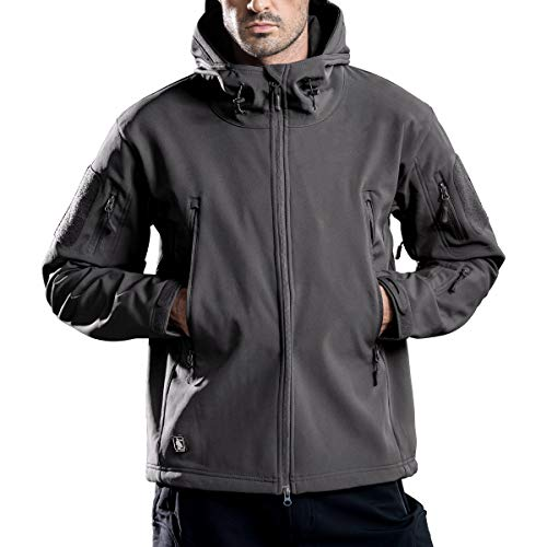 FREE SOLDIER Men's Outdoor Waterproof Soft Shell Hooded Military Tactical Jacket (Gray XX-Large/US)
