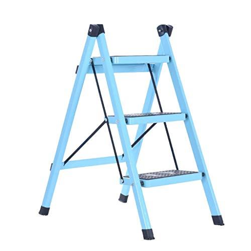 nobrand Multifunktions-Dreischritt einseitig Leiter, Multistufenleiter Hocker Inneneisenleiter Hocker/Schwarz, Blau, Braun, Grün, Rot Weiß Light Blue stabil (Farbe: Rot, Größe: 42 * 68 * 81cm)