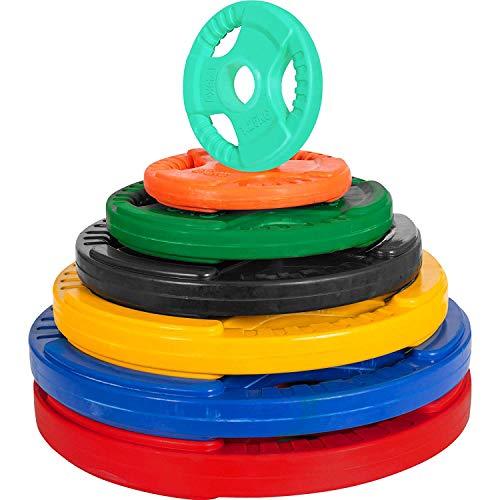GORILLA SPORTS® Hantelscheibe - aus Gusseisen mit Gummi Gripper, 1,25 bis 30 kg, 30/31 mm, Farbwahl - Gewichtsscheiben, Gewichte Hantelscheiben