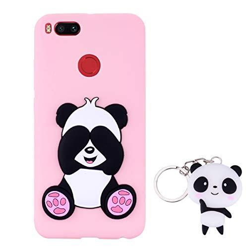 HopMore Panda Cover per Xiaomi Mi A1 / 5X Silicone Morbide Disegni 3D Divertenti Gomma Morbido Custodia Xiaomi A1 / 5X Antiurto Protettiva Case Caso Molle con Portachiavi - Rosa