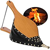 Amagabeli Wood Fireplace Bellows 19'x 8' Large Leather Fire Bellow Fire Pit Air Blower with Hanging Strap Cast Nozzle for Outdoor Cooking Camping BBQ Grill Chimney Pump Barbecue Fire Tools Accessories