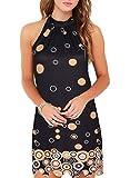 Fantaist Mini Dress,Halter Scalloped Shift Beach Summer Cocktail Dresses for Women Evening Party (XL, FT610-Brown Bubble)