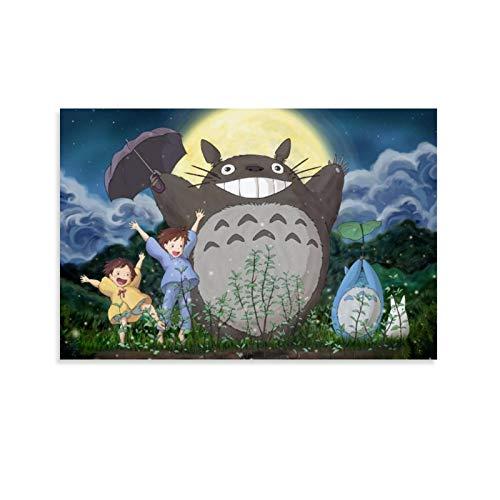 DRAGON VINES Póster de película de animación con texto en inglés 'My Neighbor Totoro Mei Satsuki Cheering Lindo artístico para decoración de pared de dormitorio universitario, 40 x 60 cm