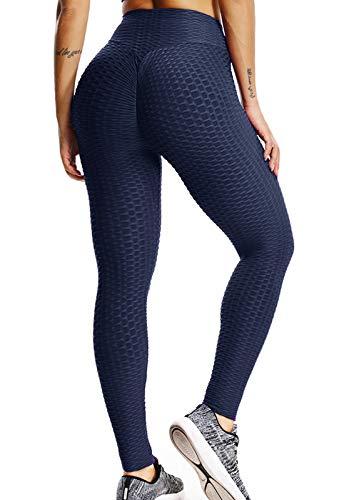 FITTOO Leggings Push Up Mujer Mallas Pantalones Deportivos Alta Cintura Elásticos Yoga Fitness AzulM