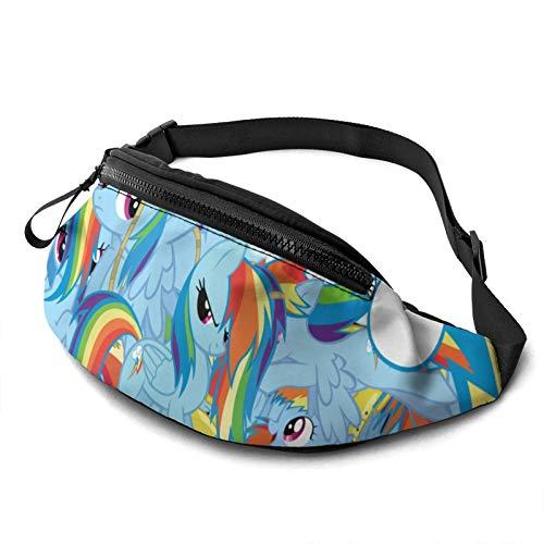 Cartoon M-y Li-ttle Po-ny Casual Waist Bag Men Women Kids Teens Bag Fitness Running Hiking Cycling Sport Belt Bag Tear-Resistant Bags for Workout Travel Camping Shoulder Bag