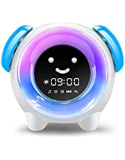 Alarm Clock for Kids, Sleep Training Clock with 7 Colors Night Light, 6 Alarm Rings, NAP Timer, Teach Children Time to Wake up, Rechargeable Battery USB Charging Clock for Boys Girls Bedroom (White)
