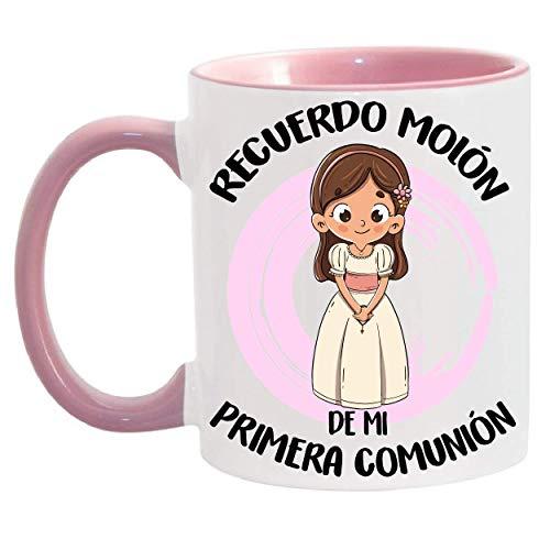 FUNNY CUP Taza Recuerdo molón de mi Primera comunión. Regalo Divertido para niña. (Rosa)