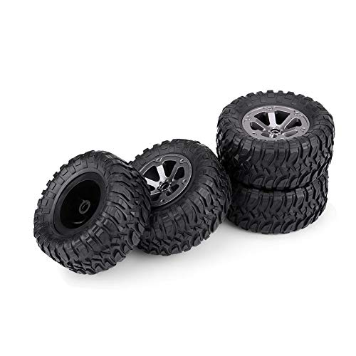 4pcs RC Crawler Tires, Rubber Grappler Tires Plastic Wheel with Rubber Tyre for RC Car