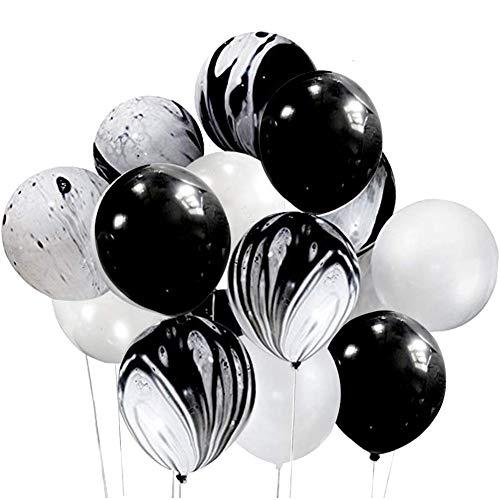 TOSOAR 50 Marmor Ballons Party Zubehör für Geburtstag 30cm Latex Luftballons Satz für Hochzeit Baby Duschen Christmas Festival Zeremonie (Schwarz und weiß und Schwarzer Marmor Achat)