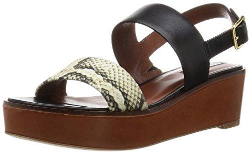 Cole Haan Women's Cambon Wedge Platform Dress Sandal, Black Leather/Roccia Snake Canvas/Acorn Suede, 10.5 B US
