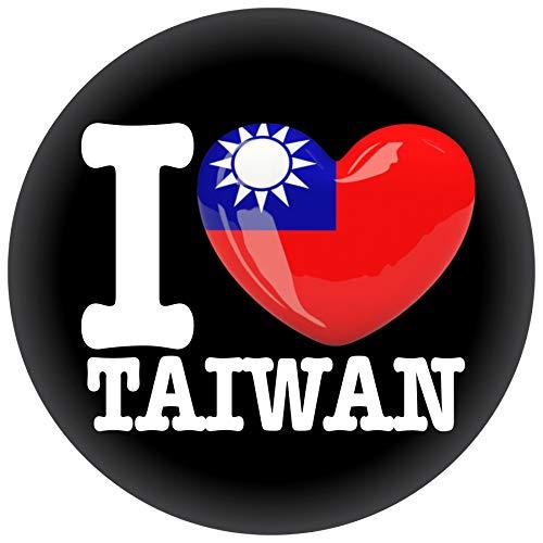 FanShirts4u Button/Badge/Pin - I Love TAIWAN Fahne Flagge (I LOVE TAIWAN)