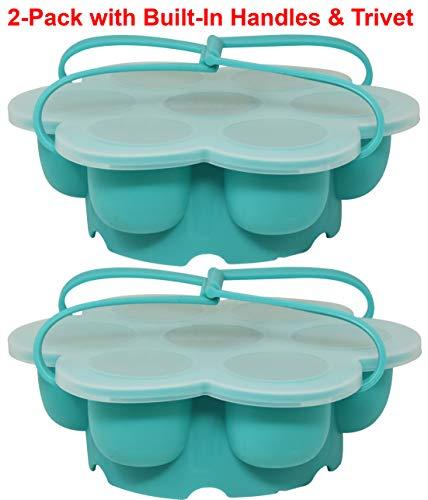 Salbree Egg Bite Mold for Instant Pot Accessories Silicone Instapot Steamer Molds Container for Eggs Meatloaf fits Insta Pot Cooker 5qt 6qt 8qt - Built-In Handles & Trivet (aqua, 2pk)…