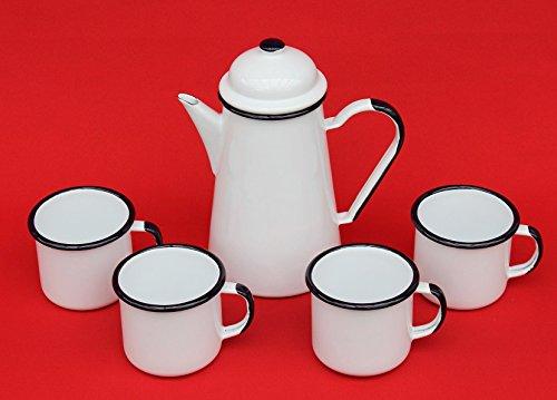 DanDiBo 5 TLG. Set Kaffeekanne + 4 Tassen 578TB+501/8 Weiß emailliert Teekanne Emaille E