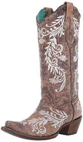 Corral Ld Brown/White Embroidery- Glow Collection ,Size 7