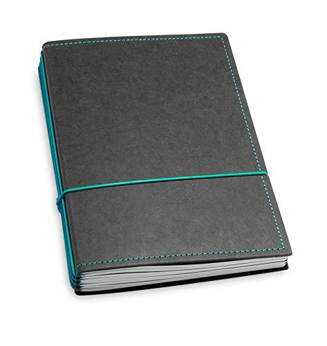 A5, revolutionäres X17-Notizbuch/Personal Organizer! Vegan! Deutsches Zellulose-Material, schwarz + türkis/grün; Inhalt: 4 Hefte (blanko, liniert, kariert, gepunktet) austauschbar=nachhaltig!