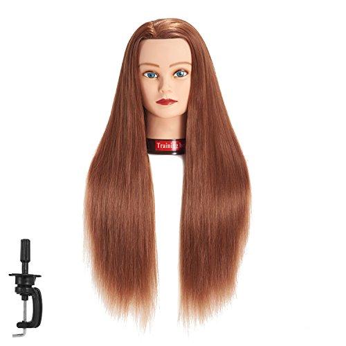 Cabeza de maniquí de pelo sintético de fibra sintética para entrenamiento de peluquería, modelo de entrenamiento con abrazadera (6RB1813W63020)