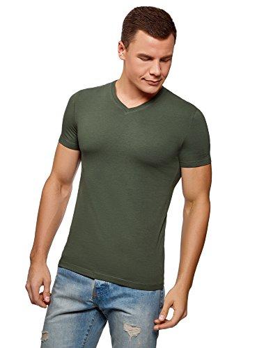 oodji Ultra Hombre Camiseta Básica con Escote en V, Verde, XXL