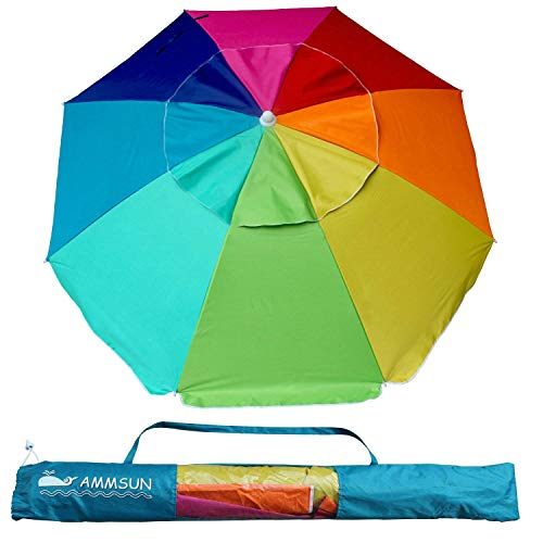 AMMSUN Beach Umbrella, 6.5ft air Vented with Tilt Steel Pole, Portable UV 100+ Protection Beach Umbrella with Carry Bag for Outdoor Patio, Rainbow