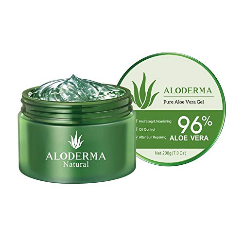 ALODERMA Organic Pure Aloe Vera Gel Made with 96% USDA Organic Certified Aloe Vera within 12 Hours of Harvest (200g, 7.0 oz) No Powder Concentrates or Parabens – No Sticky Residue