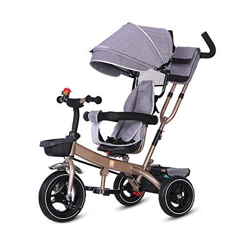 Baby-driewieler, fiets, lichte trolley, jongens- en meisjesfiets (rood, roze, blauw, grijs, gecamouflage, geel) grijs