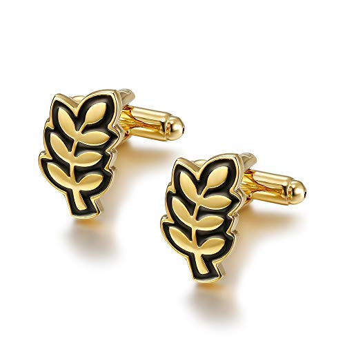 BOBIJOO Jewelry - Paire de Boutons de Manchette Or Noir Branche d'Acacia Franc Maçonnerie Amour de Dieu