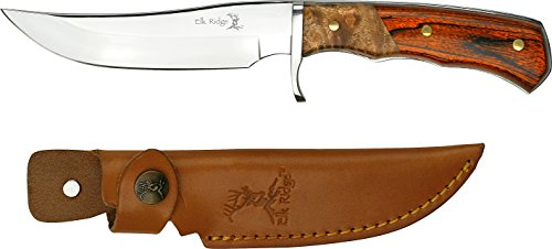Elk Ridge - Outdoors Fixed Blade Knife, 9.5-in Overall, Satin Finish Stainless Steel Blade, 2 Tone burl Wood Handle, Genuine Leather Sheath, Hunting, Camping, Survival - ER-085