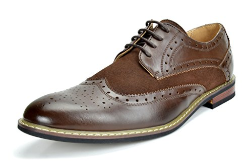 Bruno MARC PRINCE-15 Men's Oxford Modern Classic Brogue Wing-Tip Monk Strap Leather Lined Perforated Dress Oxfords Shoes Dark-Brown Size 10