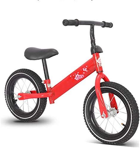 Bicicleta de Equilibrio Bike Balance del niño bicicleta de entrenamiento durante 18 Meses 2 3 4 5 años for niños colores frescos empuje las bicis de 12' sin pedal Vespa Bicicleta con reposapiés Rojo A