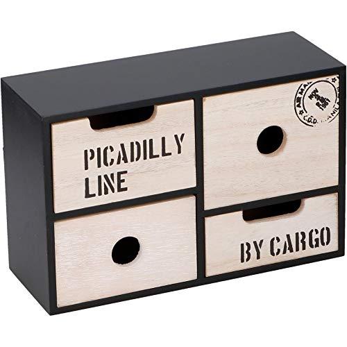 Warenhandel König Mini Kommode aus Holz mit 4 Schubladen als Schmuckschränkchen, Aufsatzregal, Organizer, Ablagesystem - Modell #3-499