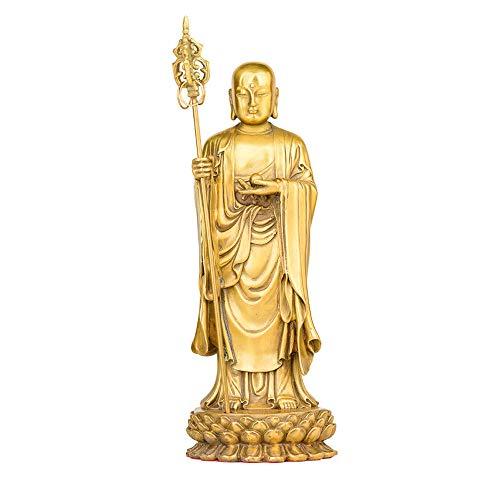 Reines Kupfer Boden Tibetische Bodhisattva Statue, Buddha Station Figur,Buddhistische Statue,Hause Desktop Handwerk Dekoration,Dekorative Sammlerstücke(9x9x24cm