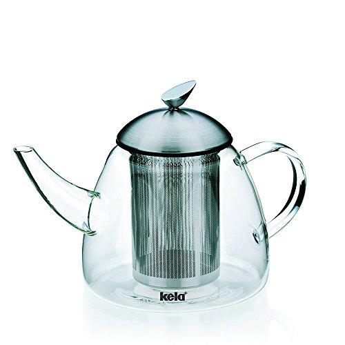 Kela 16940 Teekanne aus Glas mit Edelstahl-Siebeinsatz, 1,3 l, Aurora