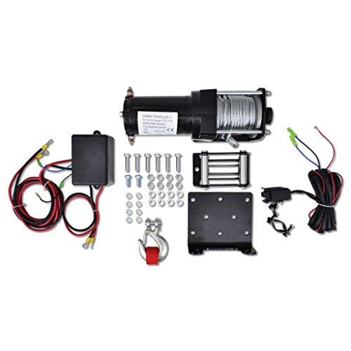 12 V Cabrestante Eléctrico 1.360 KG Placa de Montaje Guiacabos de Rodillo Control Remoto de Cable