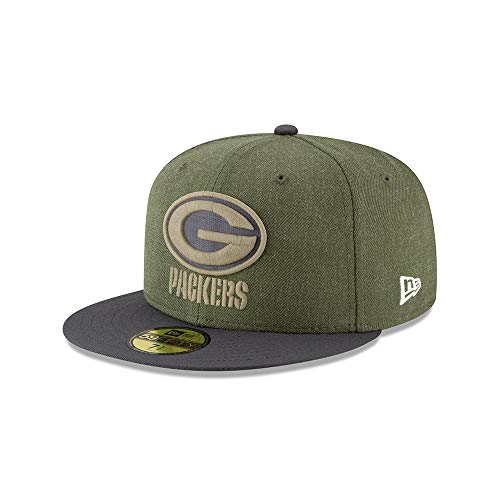 New Era Green Bay Packers On Field 18 Salute to Service Cap 59fifty 5950 Fitted Limited Edition, Green, 7 1/2 - 60cm (XL)