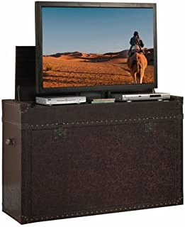 Touchstone 73007 – Ellis Trunk TV Lift Cabinet (Leather) - Up to 50 Inch TVs Diagonal (46 In Wide) - Chest Style Motorized TV Cabinet - Pop Up TV Cabinet With Memory Feature, IR/RF, 12V Trigger