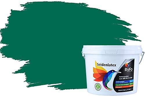 RyFo Colors Seidenlatex Trend Grüntöne Smaragdgrün 3l - bunte Innenfarbe, weitere Grün Farbtöne und Größen erhältlich, Deckkraft Klasse 1