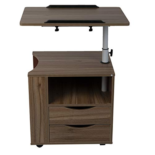 Mind Reader Bedside Workstation Adjustable Nightstand Swivel Top Couch Laptop Desk with Drawers and Magazine Holder, Wood Finish, Brown