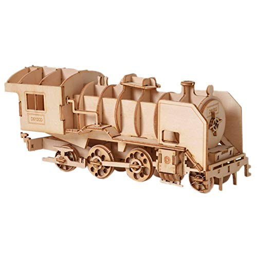 Xuji DIY 3D Puzzle de Madera de Juguete de Montaje Modelo, Steam Locomotora Juguetes computadora Craft Kits Kids