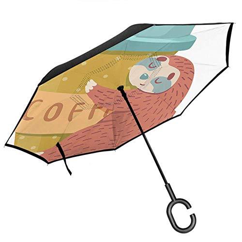Dliuxf Faultier Regenschirm Niedliches Tier schläft Braunes Faultier umarmt Kaffeetasse mit gepunktetem Auto umgekehrter winddichter UV-Schutzschirm -K79