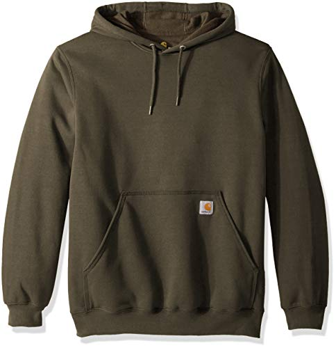 Carhartt Men's Midweight Original Fit Hooded Pullover Sweatshirt K121, Moss, Medium