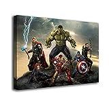 Genérico Cuadro Lienzo Canvas Infantil Superheroes Thor Hulk Capitan America Comic – Varias Medidas - Lienzo de Tela Bastidor Madera de 3 cm - Alta resolucion (50, 37)
