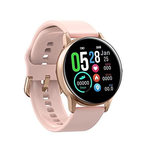 KSSMJZ Reloj Inteligente para Hombre, pasómetro Deportivo, Pulsera IPS, frecuencia cardíaca, presión Arterial, oxígeno, IP68, Reloj Inteligente a Prueba de Agua (Color : Rose Gold)