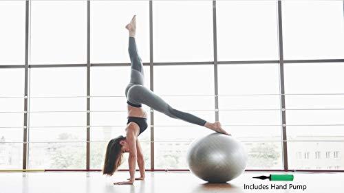 Pelota de ejercicio de fitness de 65 cm con bomba de aire, antiestallido, antideslizante, ideal para abdominales, embarazo/maternidad, pilates, yoga, equilibrio, barre.