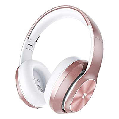 Rydohi Wireless Headphones Over Ear, [100 Hrs Playtime] Bluetooth Headphones, Foldable Hi-Fi Stereo Bass, Soft Memory Earmuffs, Built-in HD Mic, Wired Mode for TV/PC/Phone (Rose Gold) by Rydohi