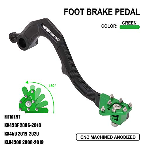 AnXin Motorcycle Rear Brake Pedal Foot Lever for Kawasaki KX450F 2006-2018 KX450 2019-2020 KLX450R 2008-2019 - Green