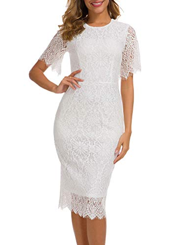 Cute Lace Dress for Woman Travel Casual Party Lovely Eyelash Short Sleeve Rounded Neck Sheath Skirts Cocktail Wedding Guest Attire 931 (XL, White)