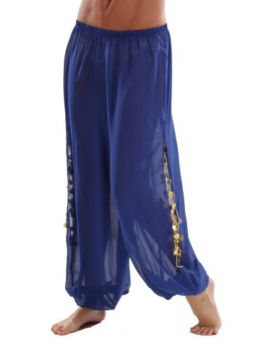 Bellydancer Chiffon Harem Pants with Side Slits | Maiden Dance - Royal/Gold