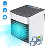 Personal Air Cooler, Portable Air Conditioner with Ice Box, 3 in 1 Evaporative Air Cooler, 3 Fan Speeds, USB Table Fan for Office Home Bedroom, 7-Color Night Lights, Ultra Quiet